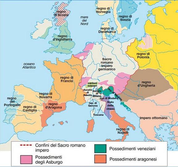 Cartina Dellitalia Nel 400.L Europa Nel Quattrocento